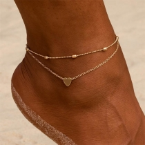Simple Style Heart Pendant Double-layer Anklet