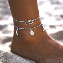 Fashion Heart Sun Pendant Double-layer Anklet