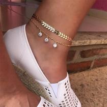 Fashion Rhinestone Pendant Double-layer Anklet