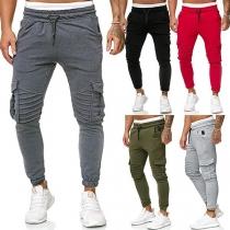 Fashion Solid Color Drawstring Waist  Side-pocket Man's Sports Pants