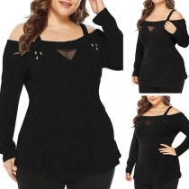 Sexy Off-shoulder Long Sleeve Plus-size Sling T-shirt