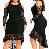 Sexy Off-shoulder Long Sleeve High-low Hem Lace Spliced Plus-size Dress