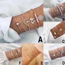 Fashion Hollow Out Lotus Heart Pendant Bracelet Set 4 pcs/Set