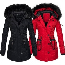 Stylische Damen warmer Wintermantel mit abnehmbarer Kunstpelz Kapuze