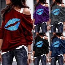 Fashion Oblique Shoulder Lips Printed Sweatshirt