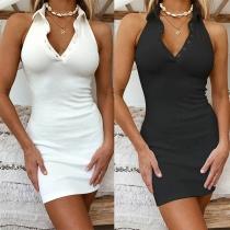 Sexy Rückenfreies Kleid mit Polokragen Volltonfarbe und Schlanker Passform