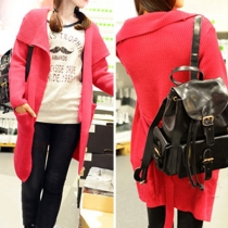 Elegant Pure Color Big Lapel Knitting Cardigan with Waistband