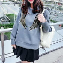 Fashion Angel's Wing Embroidery Long Sleeve Loose Sweatshirt
