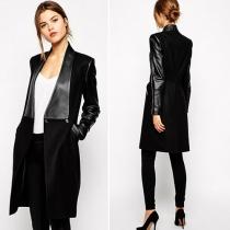 Fashion Leather Spliced Long Sleeve Woolen Coat
