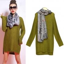 Fashion Round Neck Long Sleeve Slit Sweater + Scarf