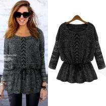 Fashion Bat Sleeve Gathered Waist Knitted Sweater