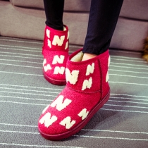 Fashion Letters Pattern Anti-slip Warm Snow Boots