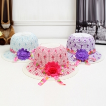 Fashion Wide Brim Summer Beach Flower Straw Hat Sunhat For Children