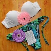 Sexy White Bandeau Bra + Floral Print Briefs Bikini Set