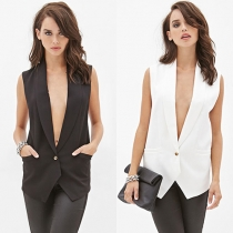 Fashion Lace Spliced Sleeveless Blazer Vest