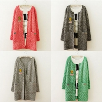 Fashion Solid Color Long Sleeve Knitted Cardigan