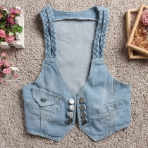 Retro Style Twist Braid Short-style Denim Vest