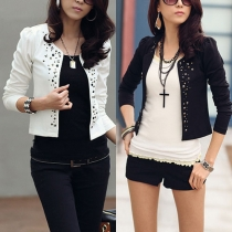 OL Style Long Sleeve Slim Fit Rivets Blazer