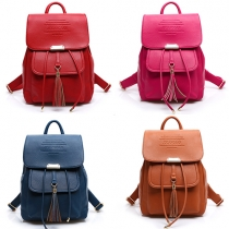 College Style Solid Color Backpack