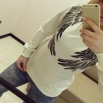 Mode Rundhalsausschnitt Langarm Flügel Pailletten Sweatshirt(Die Größe fällt klein)