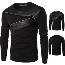 Stilvolle Herren Sweatshirt mit Leder-Besatz und Zierreißverschluss - schwarz