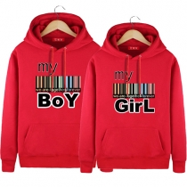 Casual Style Letters Printed Front Pocket Long Sleeve Hooded Couple Sweatshirts