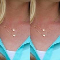 Mode Doppellagig Stern Herz Anhänger Halskette
