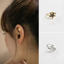 Einfache Stern Pentagramm Ohrclips Ohrringe