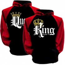 Fashion Letters King Printed Long Sleeve Couple Hoodie Sweater