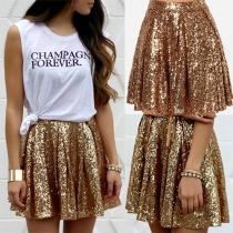 Fashion High Waist Sequin Skirt
