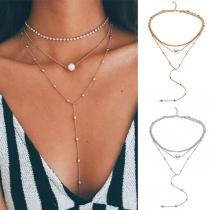 Fashion elegante Halskette mit Strass-Kette und Perle-Anhänger im 3 Layer-Look