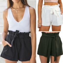 Fashion Solid Color High Waist Casual Shorts with Waist Strap