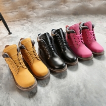 Retro Style Round Toe Flat Heel Lace-up Martin Boots Booties