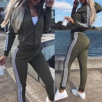 Stylische Trainingsanzug Sportanzug mit Hoodie-Jacke und Sweatpants
