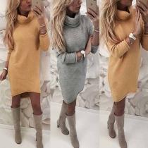 Stylische lockere Pullover-Kleid mit Tube Collar und gerollten Abschlüssen
