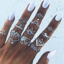 Retro Style 13-teilige Ringe aus Legierung