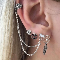 Fashion Heart Chain Alloy Stud Earring Set 4 pcs/Set