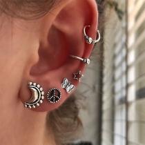 Fashion Star Butterfly Shaped Alloy Stud Earring Set 6 pcs/Set