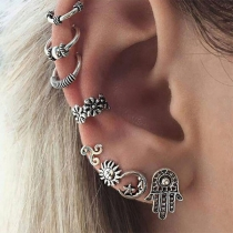 Retro Style Alloy Stud Earring Set 8 pcs/Set