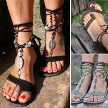 Bohemian Style Flat Heel Tassel Lace-up Sandals