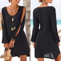 Sexy stilvolle Kleid Longshirt mit Aussparungen an Ärmel