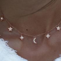 Fashion Rhinestone Star Crescent Pendant Necklace