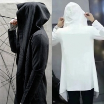 Hip-hop Style Solid Color Long Sleeve Hooded Men's Cardigan
