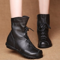 Fashion Flat Heel Round Toe Lace-up Martin Boots Booties