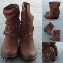 Retro Style Stiefelette Boots mit Zierbändern, Metallkette, Zierherz-Applikation