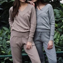 Fashion Solid Color Long Sleeve V-neck Sweater + Knit Pants Two-piece Set