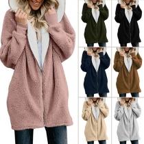 Damen Kurzmantel Jacke aus Teddyfell mit Kapuze