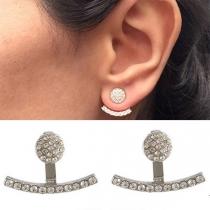 Simple Style Rhinestone Inlaid Alloy Stud Earrings