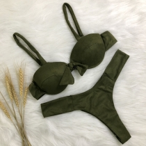 Sexy Backless Solid Color Knotted Bikini Set