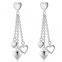 Fashion Heart Pendant Tassel Earrings